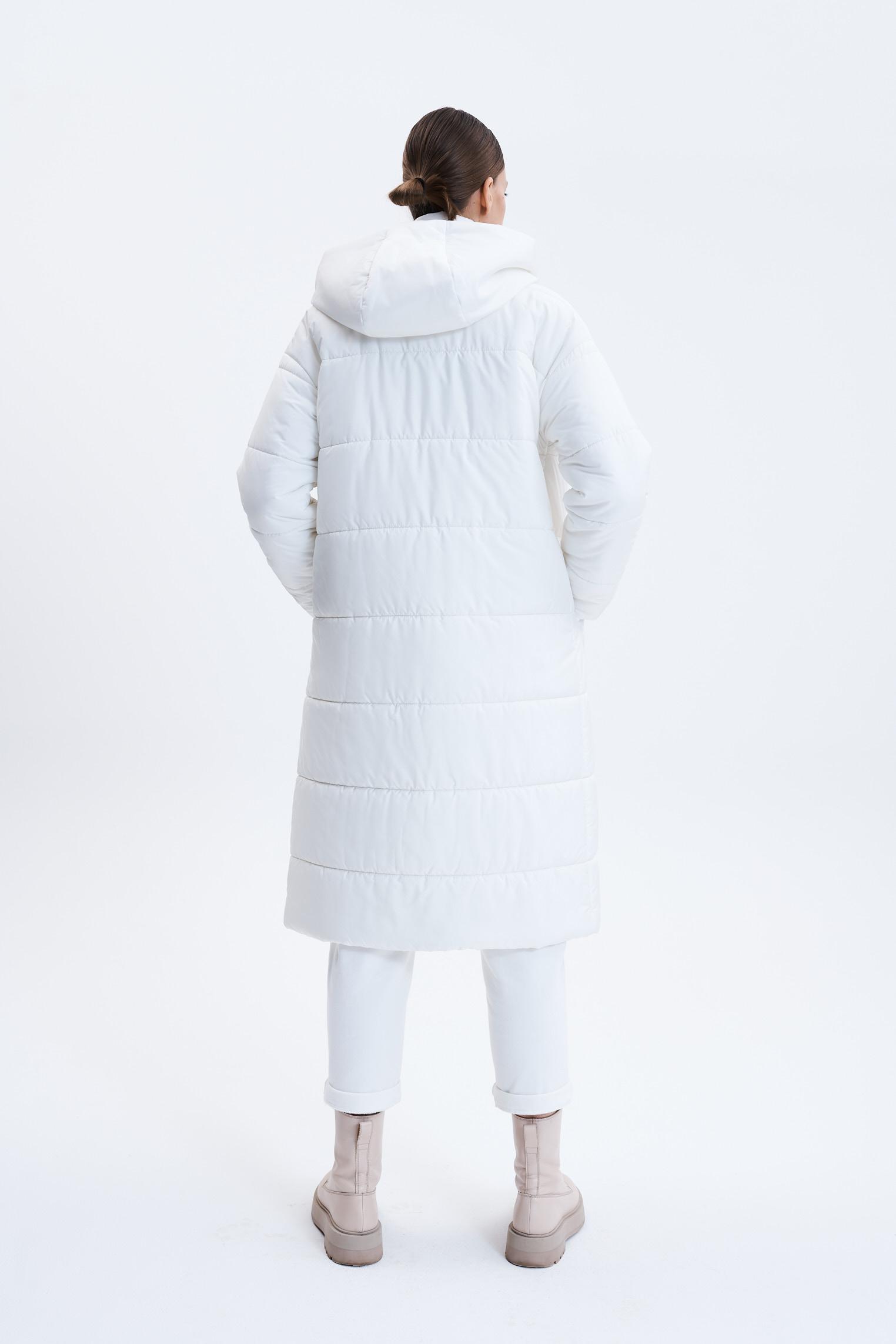 LANGER STEPPMANTEL - OFF-WHITE